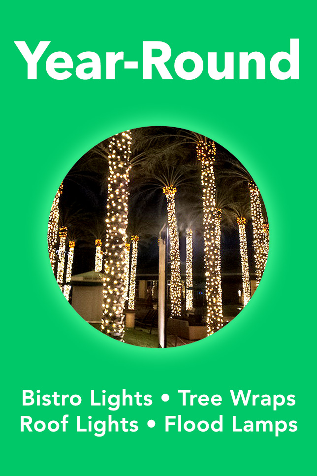 Year-Round Decorative Lighting. Bistro Lights, Tree Wraps, Roofline Lighting, Colored Flood Lamps