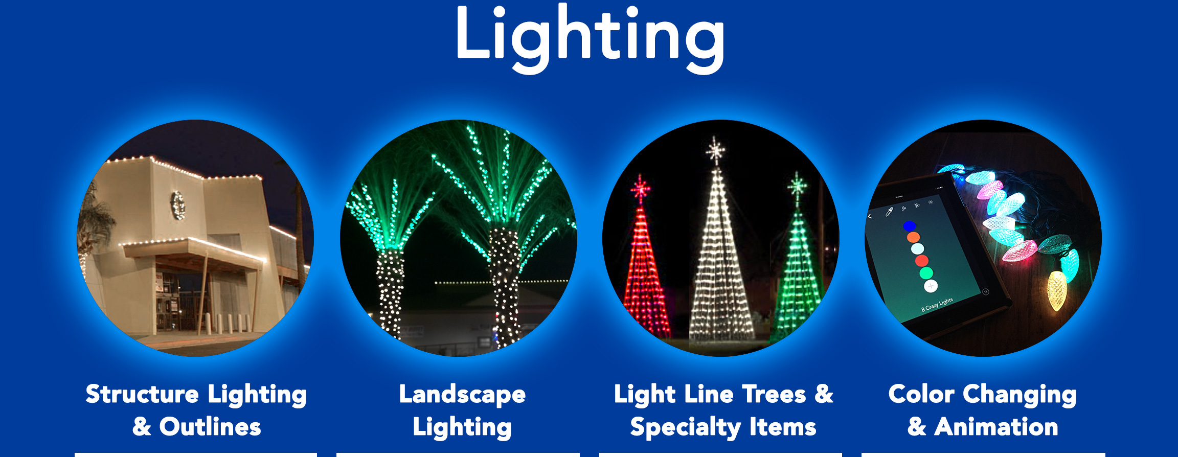 Structure Lighting & Building Outlines. Landcape Lighting. Light Line Trees & Specialty Lighted Items. Color changing LED lights and animated light shows.